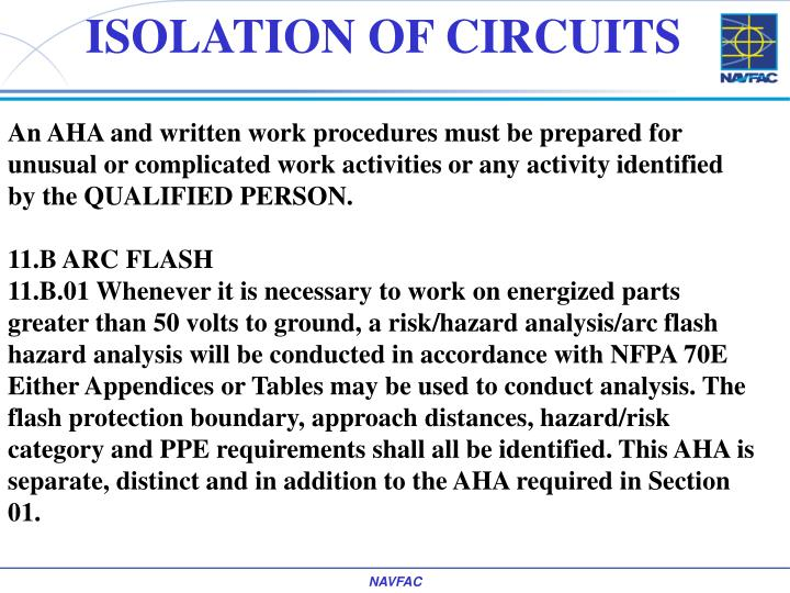 ISOLATION OF CIRCUITS