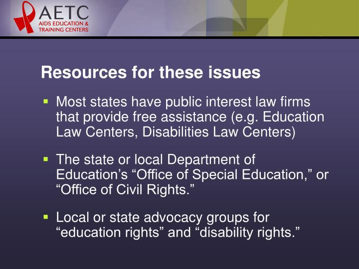 Resources for these issues