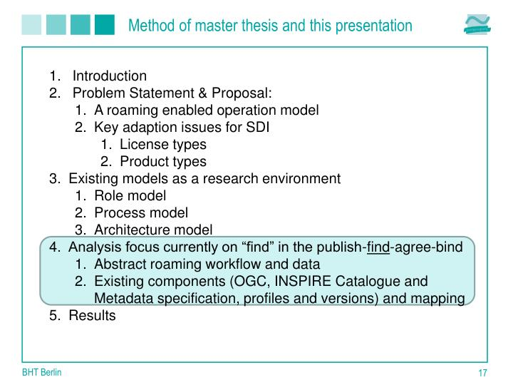 Method of master thesis and this presentation