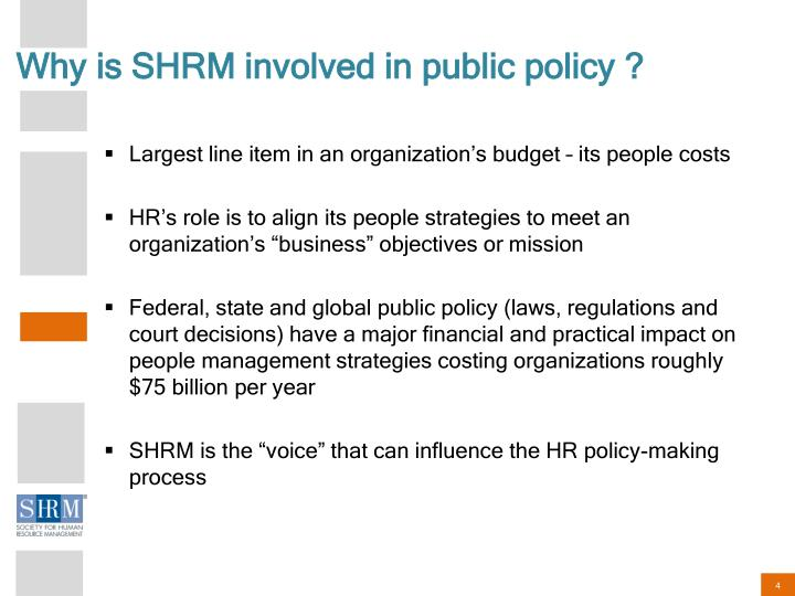 Why is SHRM involved in public policy ?