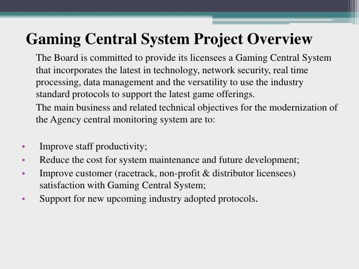Gaming Central System Project Overview