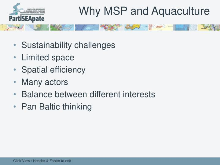 Why MSP and Aquaculture