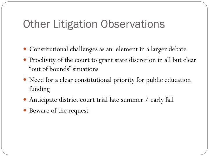 Other Litigation Observations
