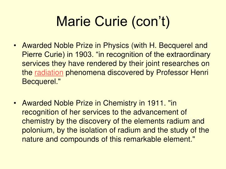 Marie Curie (con't)