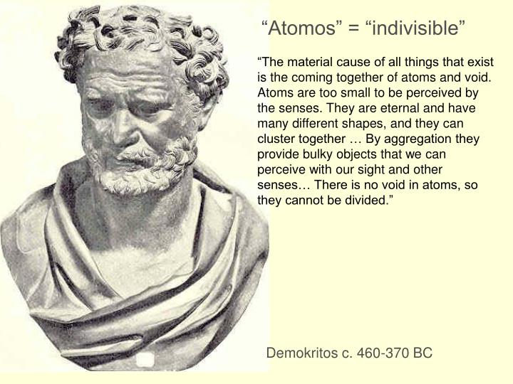 """Atomos"" = ""indivisible"""