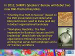 in 2012 shrm s speakers bureau will debut two new d i themed keynotes