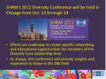 shrm s 2012 diversity conference will be held in chicago from oct 22 through 24