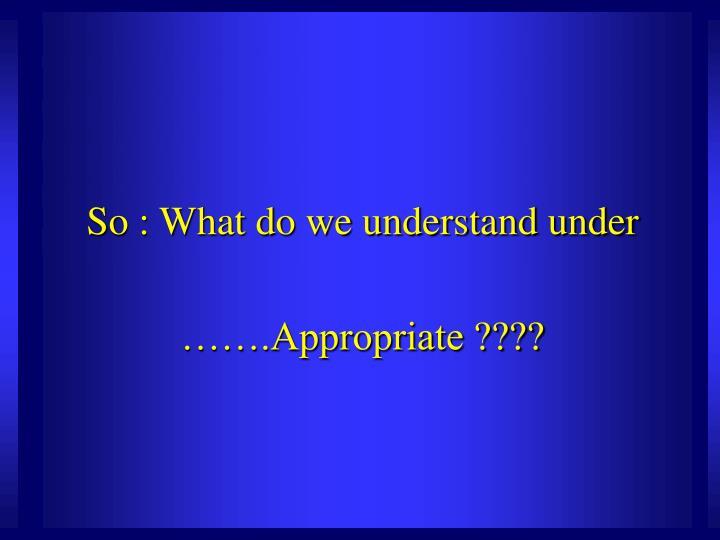 So : What do we understand under