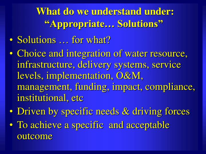 """What do we understand under: """"Appropriate… Solutions"""""""