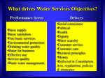 what drives water services objectives