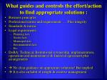 what guides and controls the effort action to find appropriate solutions