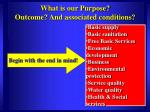 what is our purpose outcome and associated conditions