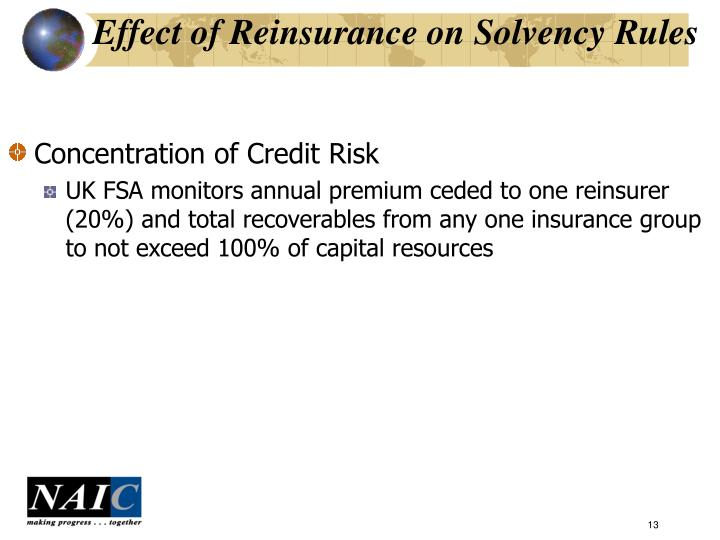 Effect of Reinsurance on Solvency Rules