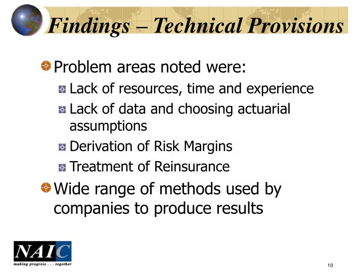 Findings – Technical Provisions