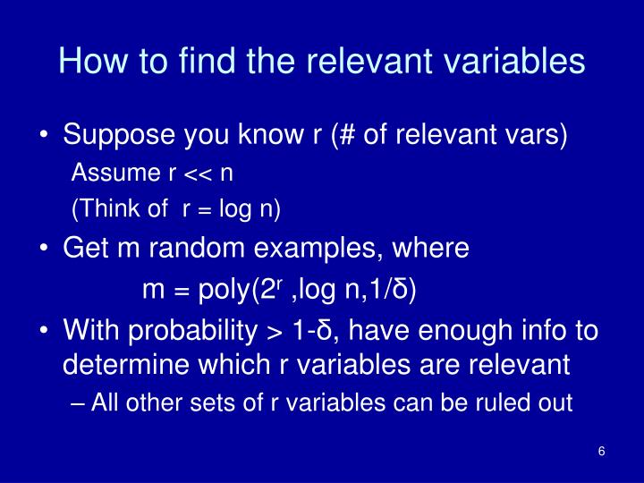How to find the relevant variables