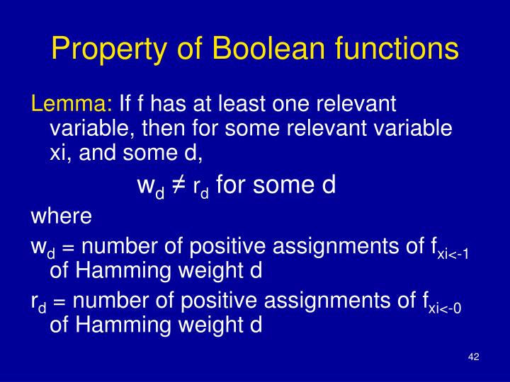 Property of Boolean functions