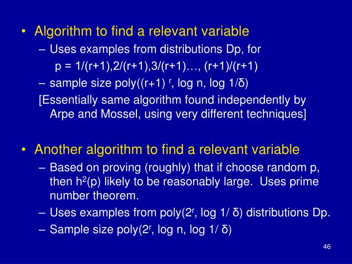 Algorithm to find a relevant variable