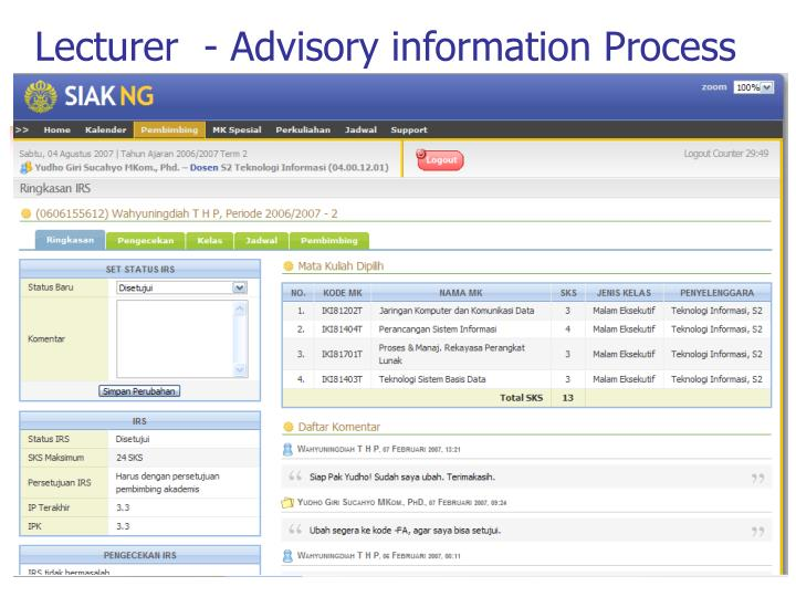 Lecturer  - Advisory information Process