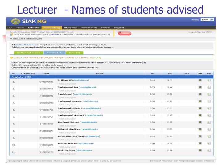 Lecturer  - Names of students advised