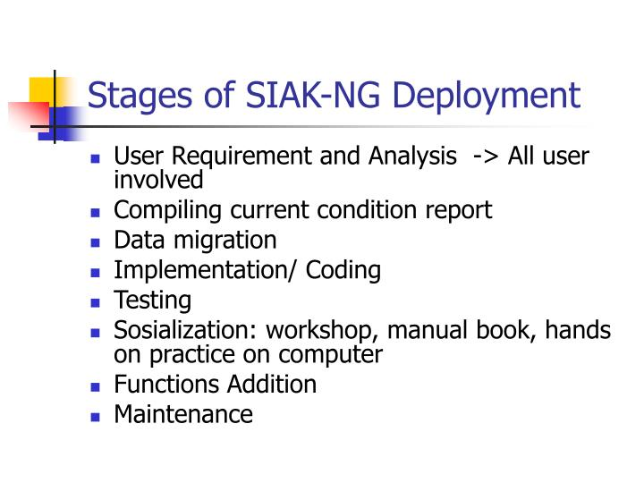Stages of SIAK-NG Deployment