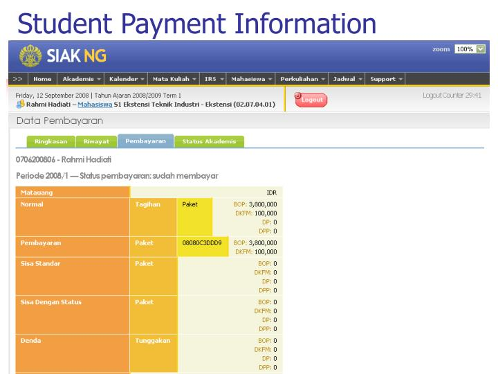 Student Payment Information