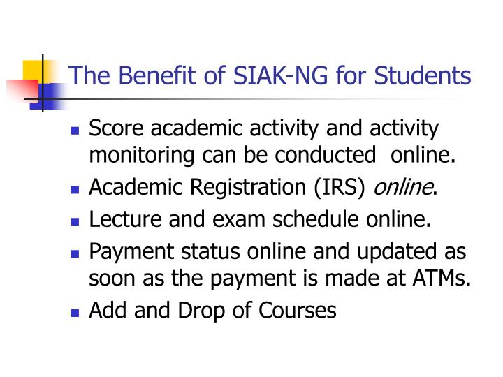 The Benefit of SIAK-NG for Students