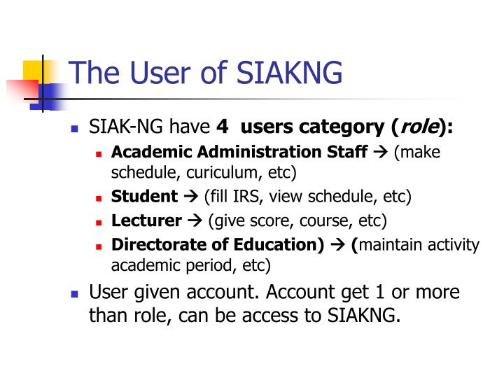 The User of SIAKNG