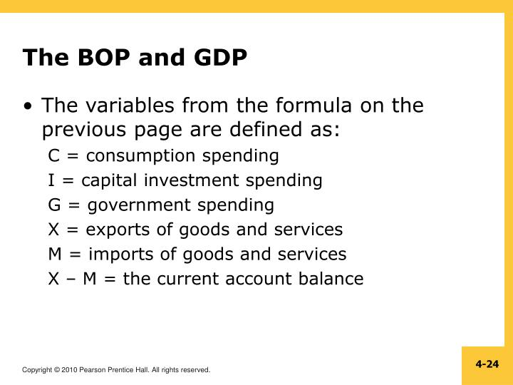 The BOP and GDP