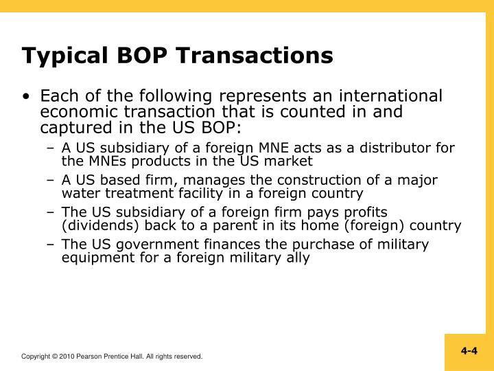 Typical BOP Transactions