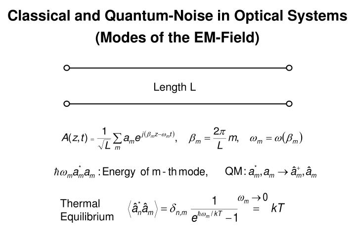 Classical and Quantum-Noise in Optical Systems