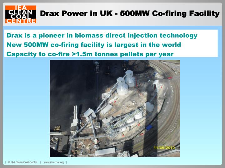 Drax is a pioneer in biomass direct injection technology