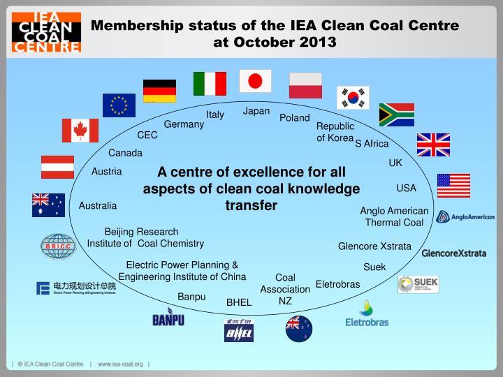 Membership status of the IEA Clean Coal Centre at October 2013