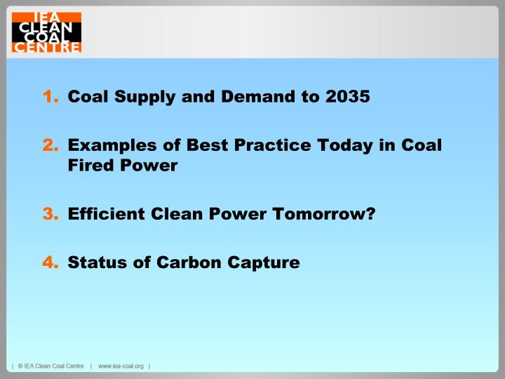 Coal Supply and Demand to 2035