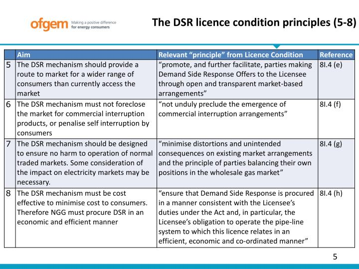 The DSR licence condition principles (5-8)