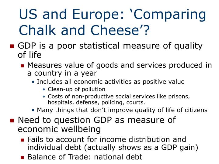 US and Europe: 'Comparing Chalk and Cheese'?