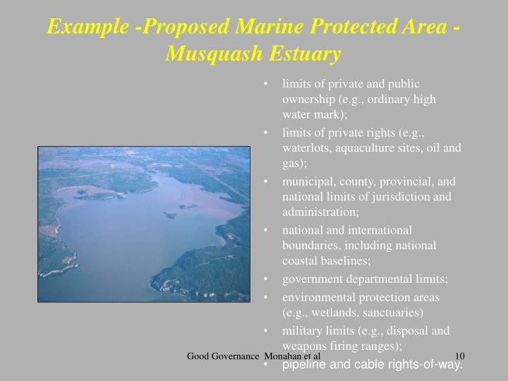 Example -Proposed Marine Protected Area - Musquash Estuary