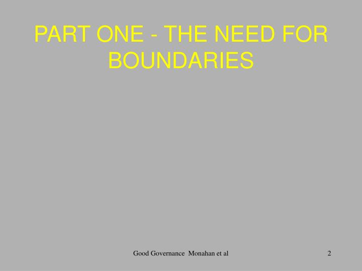 PART ONE - THE NEED FOR BOUNDARIES