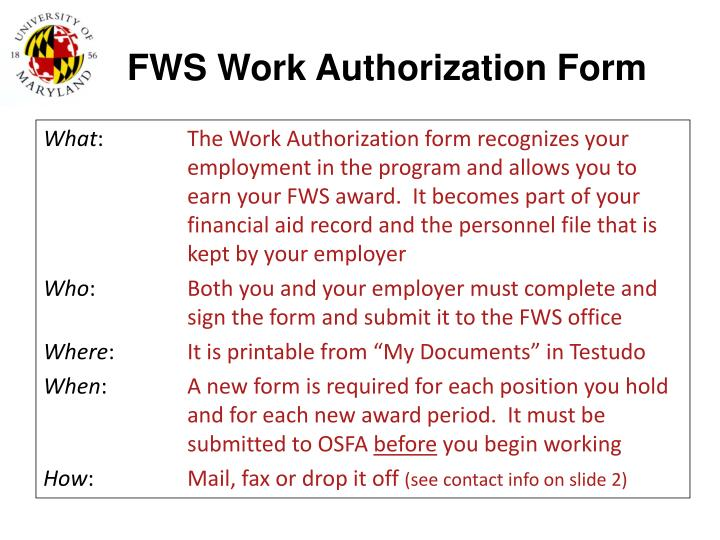 FWS Work Authorization Form