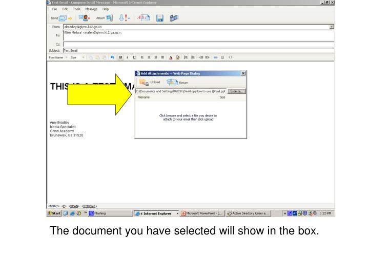 The document you have selected will show in the box.