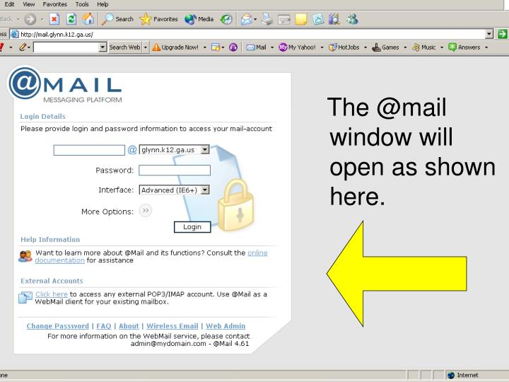 The @mail window will open as shown here.