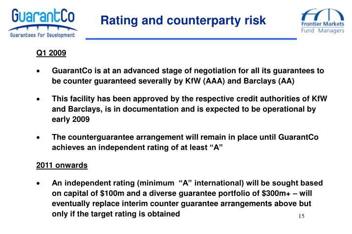 Rating and counterparty risk