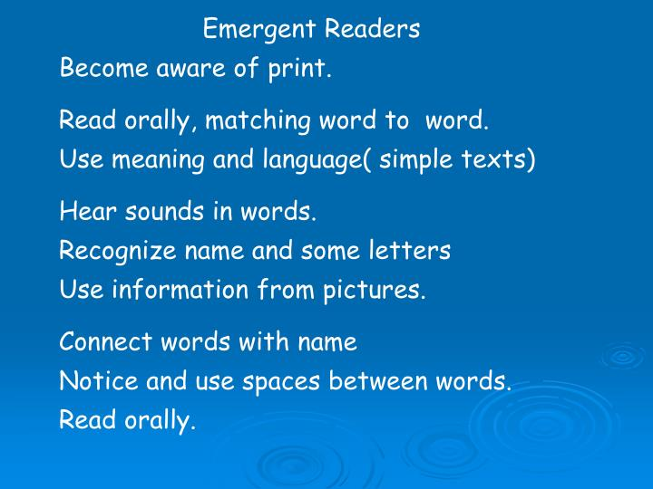 Emergent Readers