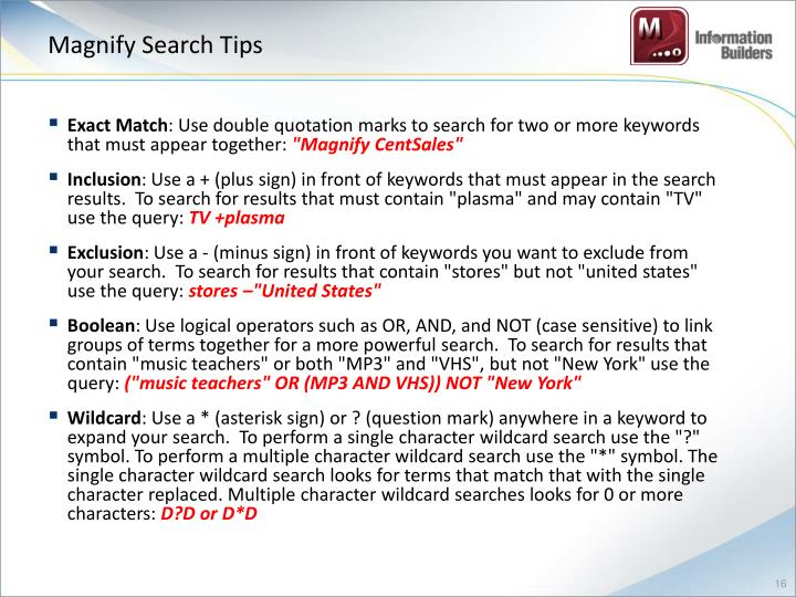 Magnify Search Tips