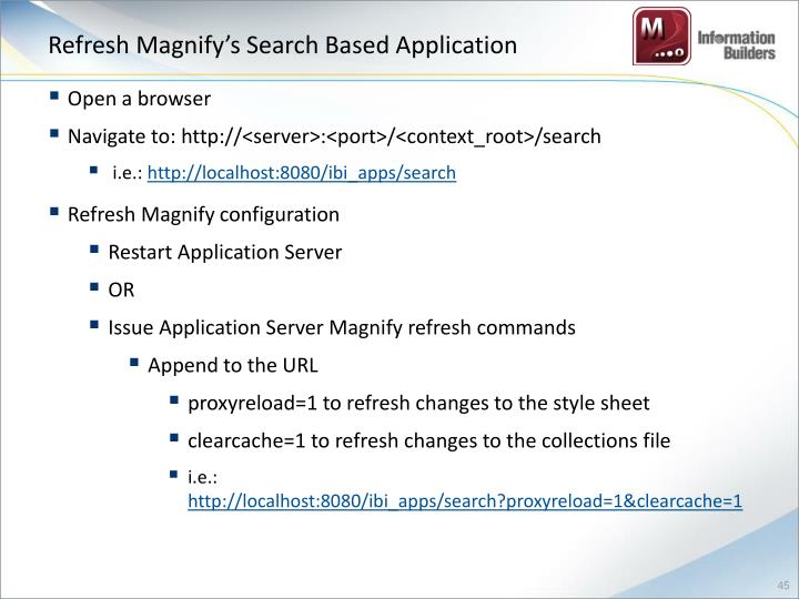 Refresh Magnify's Search Based Application