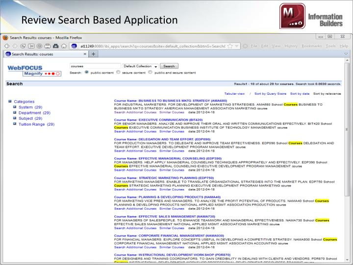 Review Search Based Application