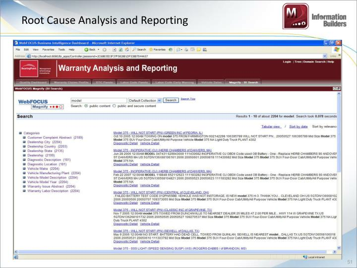 Root Cause Analysis and Reporting