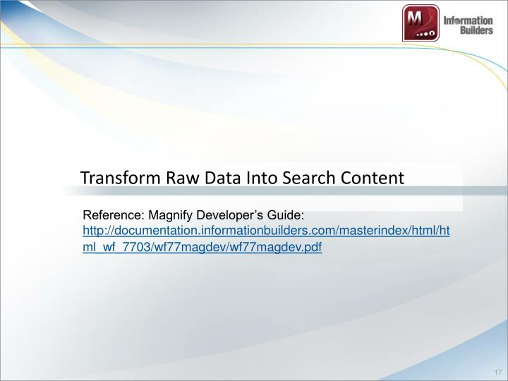 Transform Raw Data Into Search Content