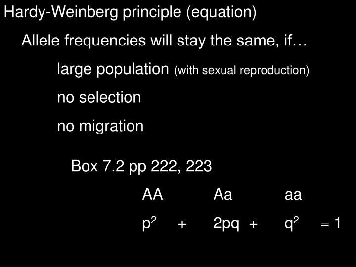 Hardy-Weinberg principle (equation)