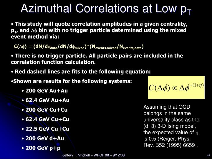 Azimuthal Correlations at Low p