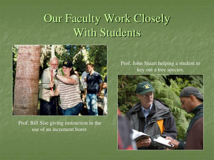 Our Faculty Work Closely